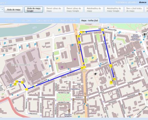 Elektronická kniha jízd - zobrazení jízdy v mapě aplikace