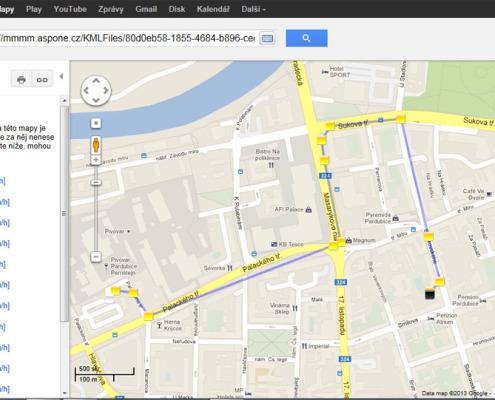 Elektronická kniha jízd - zobrazení jízdy v mapě google