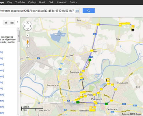 Zobrazení denního výkazu jízdy v mapě google