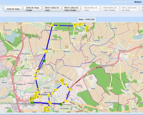 Elektronická kniha jízd - zobrazení denního výkazu jízdy v mapě aplikace