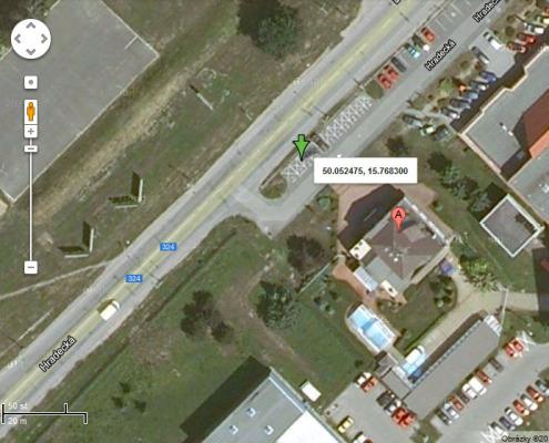 Zobrazení polohy vozidla - google satelit