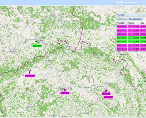 ONLINE sledování vozidel - obecná mapa s vozidly