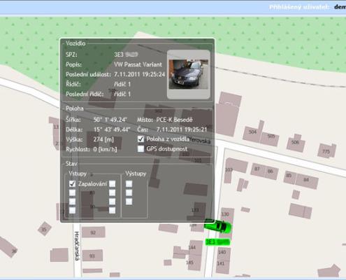 Zobrazení detailu sledovaného vozidla s kartou informací