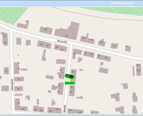 Zobrazení vozidel - zoom vozidla na úrovni uliční sítě