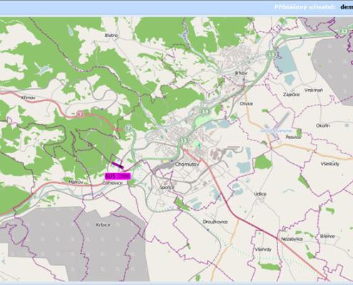 ONLINE sledování vozidel - zoom vozidla na úrovni měst